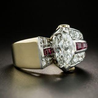 Retro 1.71 Carat MarquiseDiamond Ruby Ring - GIA G SI1