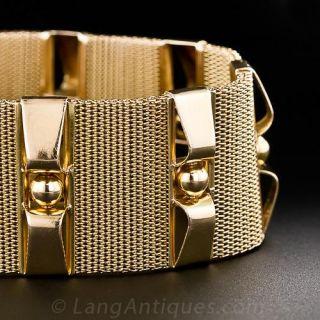 Retro 18k Wide Gold Bracelet - 2