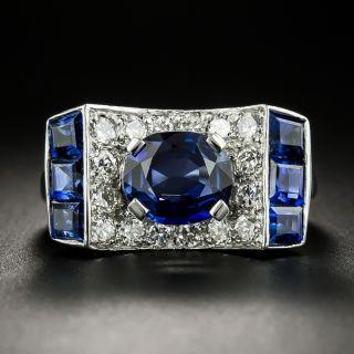Retro 2.05 Carat No-Heat Sapphire and Diamond Ring - 2