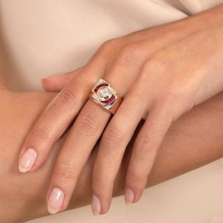 Retro .42 Carat Diamond and Synthetic Ruby Ring