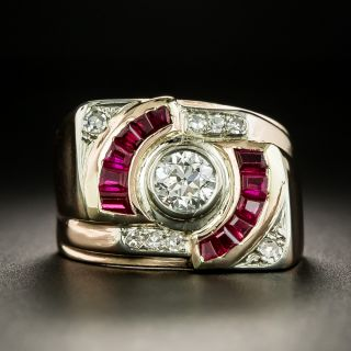Retro Diamond and Synthetic Ruby Ring - 7
