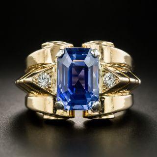 Retro 5.88 No-Heat Sapphire Diamond Ring - 2