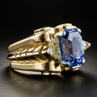 Retro 5.88 Carat No-Heat Sapphire Diamond Ring