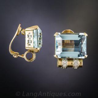 Retro Aquamarine and Diamond Earrings