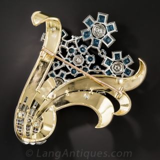 Retro Aquamarine and Diamond Flower Brooch