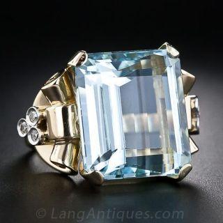 Retro Aquamarine and Diamond Ring - 2