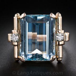 Retro Aquamarine and Diamond  Ring