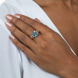 Retro Aquamarine and Diamond Rose Gold Ring