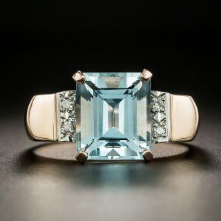 Retro Aquamarine and Diamond Rose Gold Ring - 2