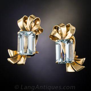 Retro Aquamarine Clip Earrings