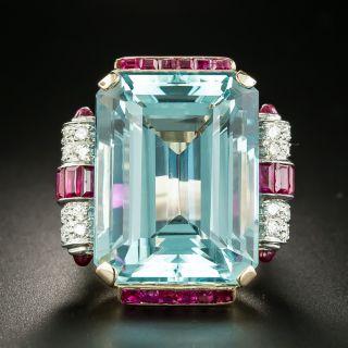 Retro Aquamarine, Diamond and Ruby Ring - 2