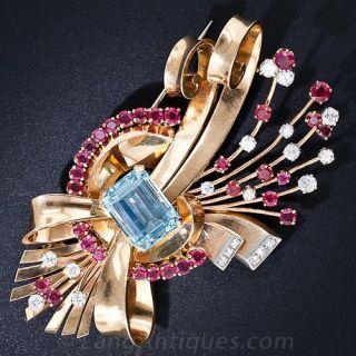 Retro Aquamarine, Ruby and Diamond Brooch - 1