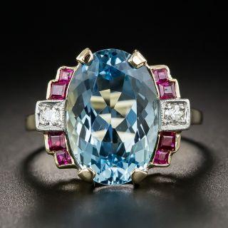 Retro Aquamarine Ruby and Diamond Ring - 1