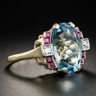 Retro Aquamarine Ruby and Diamond Ring