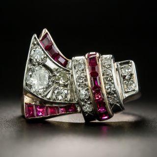 Retro Assymetrical Diamond and Ruby Ring - 2
