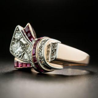 Retro Assymetrical Diamond and Ruby Ring