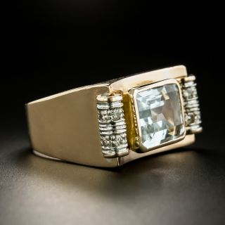 Retro Blue Topaz and Diamond Ring