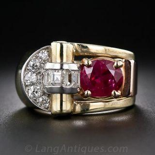 Retro Burma Ruby and Diamond Ring - 1