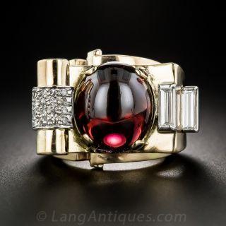 Retro Cabochon Garnet and Diamond Ring - 1