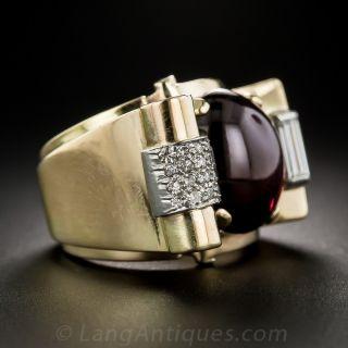 Retro Cabochon Garnet and Diamond Ring