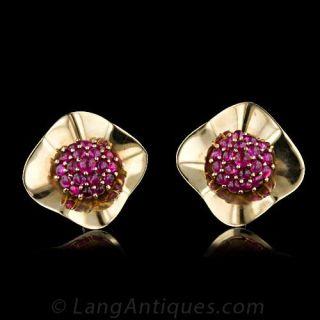 Retro Cabochon Ruby 'Raspberry' Clip Earrings