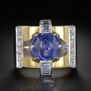 Retro Cabochon Sapphire and Diamond Ring - 1