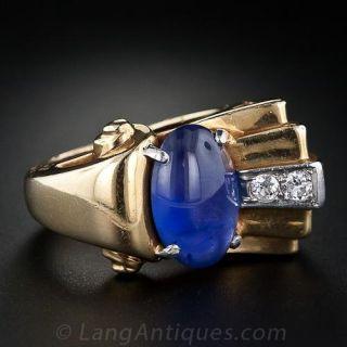 Retro Cabochon Sapphire and Diamond Ring