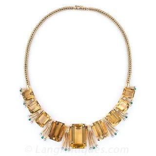 Retro Citrine, Emerald and Diamond Necklace