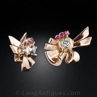 Retro Diamond and Ruby Earrings
