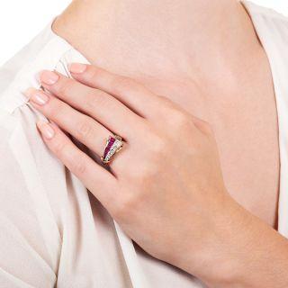 Retro Diamond And Ruby Ribbon Ring by J.& L. Hartzberg
