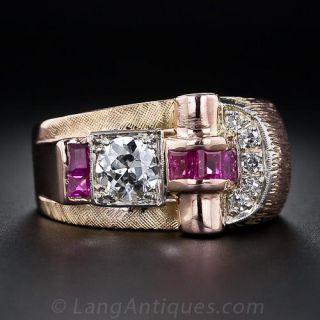 Retro Diamond and Ruby Ring  - 1