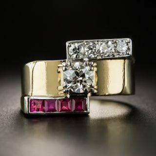 Retro Diamond and Ruby Ring - 2