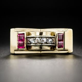 Retro Diamond and Synthetic Ruby Ring