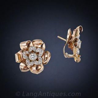 Retro Diamond Flower Earrings
