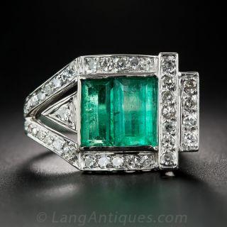 Retro Emerald and Diamond Ring