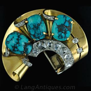 Retro French Turquoise and Diamond Suite