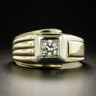 Retro Gent's Two-Tone Gold .38 Carat Diamond Ring - 2