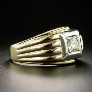 Retro Gent's Two-Tone Gold .38 Carat Diamond Ring