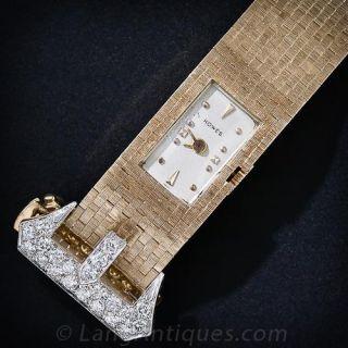 Retro Gold and Diamond Buckle Watch