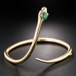 Retro Gold and Emerald Snake Bracelet