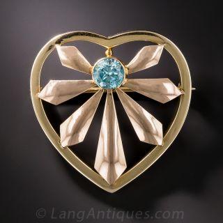 Retro Heart Pin with Blue Zircon