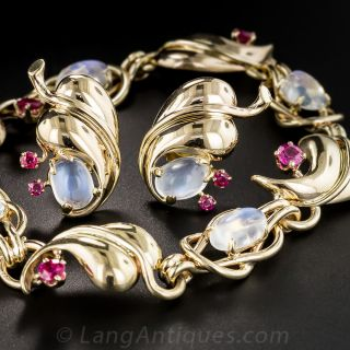 Retro Moonstone and Ruby Bracelet and Earrings