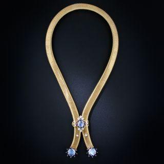 Retro Moonstone, Diamond and Sapphire Slide Necklace