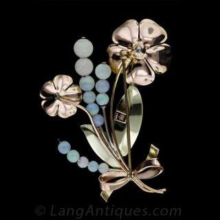 Retro Opal Flower Pin