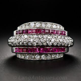 Retro Platinum Diamond and Calibre Ruby Ring - 2