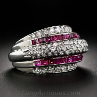Retro Platinum Diamond and Calibre Ruby Ring