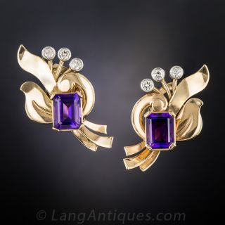 Retro Rose Gold, Amethyst and Diamond Earclips