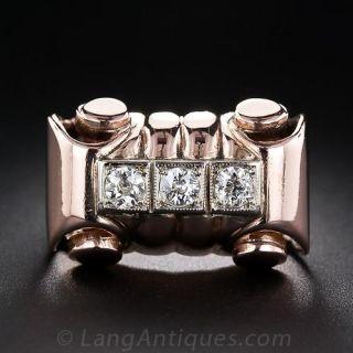 Retro Rose Gold and Diamond Ring - 1