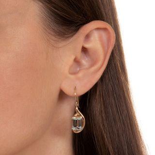 Retro Rose Gold Aquamarine Dangle Earrings