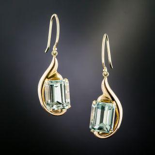 Retro Rose Gold Aquamarine Dangle Earrings - 1